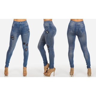 Juniors' Patch Blue High-waist Jean Leggings