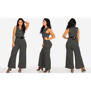 Juniors' Black and White Polyester and Spandex Striped Belted Wide-leg Sleeveless Jumpsuit