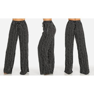 Juniors' Black Chiffon/Polyester Striped Wide-leg Pants