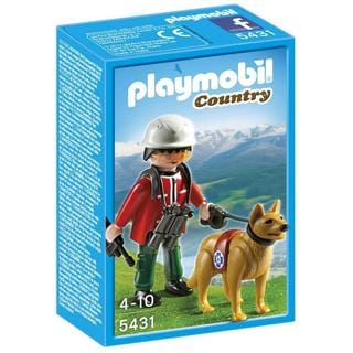 PLAYMOBIL PM5431 Mountain Rescuer with Search Dog Figure