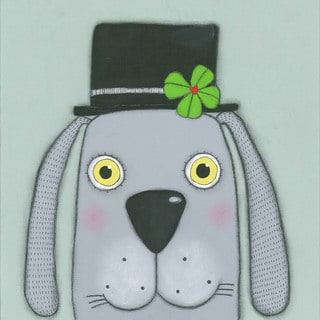 Marmont Hill - 'Dog with a Clover' by Tatijana Lawrence Painting Print on Wrapped Canvas