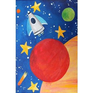 Marmont Hill - 'Red Planet Rocket' by Nicola Joyner Painting Print on Wrapped Canvas