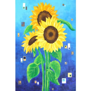 Marmont Hill - 'Sunflowers on Blue' by Nicola Joyner Painting Print on Wrapped Canvas
