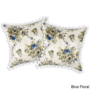 Crochet Trim Tropical Floral Jacquard Throw Pillow Case Set (Thailand)