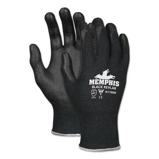 Memphis Kevlar Gloves 9178NF, Kevlar/Nitrile Foam, Black, Small