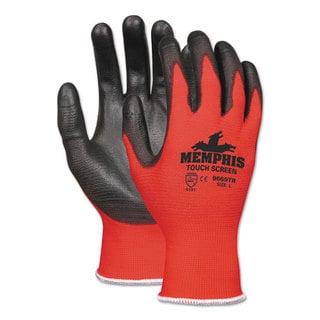 Memphis Touch Screen Nylon/Polyurethane Gloves, Black/Red, Medium