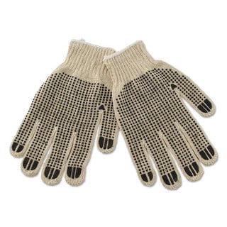 Boardwalk PVC-Dotted String Knit Gloves, Large, Dozen
