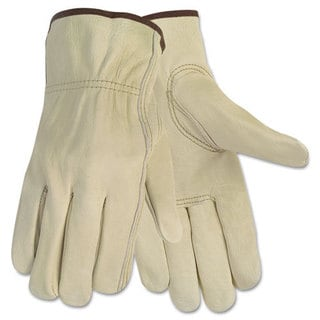 Memphis Economy Leather Driver Gloves, Large, Beige, Pair