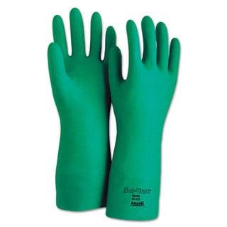 AnsellPro Sol-Vex Sandpatch-Grip Nitrile Gloves, Green, Size 9, 12 Pairs