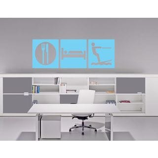 Eat Sleep Play Kids Room Children Stylish Wall Art Sticker Decal size 48x76 Color Black