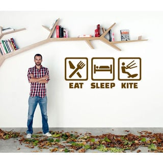Eat Sleep Kite Kids Room Children Stylish Wall Art Sticker Decal size 22x35 Color Brown