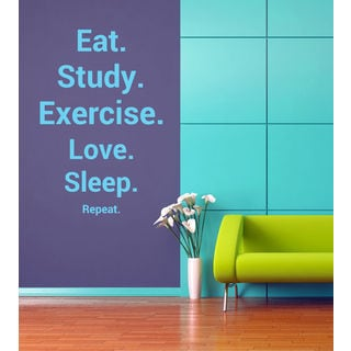 Eat Study Exercise Love Sleep Kids Room Stylish Wall Art Sticker Decal size 48x76 Color Black