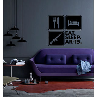 Eat Sleep AR-15 Kids Room Children Stylish Wall Art Sticker Decal size 48x48 Color Black