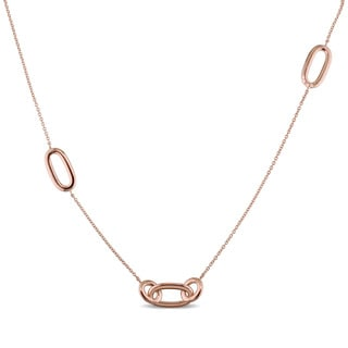 Miadora Signature Collection 18k Rose Gold Linked Ring Station Necklace