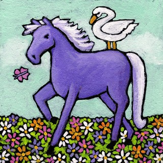 Marmont Hill - 'Swan Riding a Horse' by Janet Nelson Painting Print on Wrapped Canvas