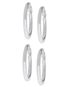 Mondevio Sterling Silver Clip Hoop Earrings Set (Two Pair)
