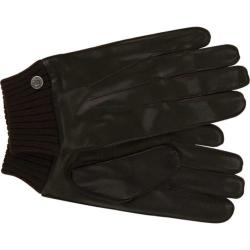 Men's Ben Sherman Leather Gloves with Knit Trim Brown 22943255