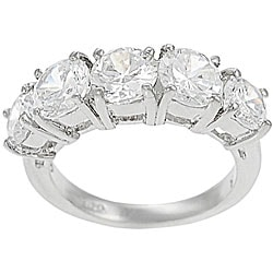Journee Collection Sterling Five Stone CZ Bridal & Engagement Ring
