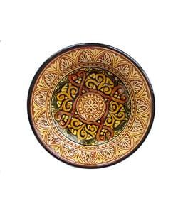 Engraved Marigold Ceramic Plate (Morocco)