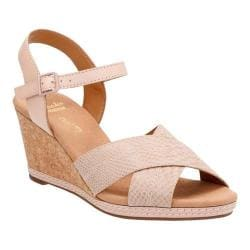 Women's Clarks Helio Latitude Wedge Sandal Nude Leather/Suede 23507041