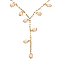 Icz Stonez 18k Gold over Silver Champagne CZ Necklace