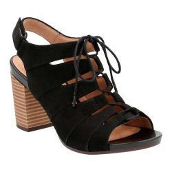 Women's Clarks Banoy Waneta Gladiator Sandal Black Goat Nubuck 24263467