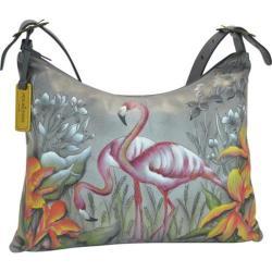 Women's Anuschka Hand Painted Slim Large Hobo Flamboyant Flamingos 24408762