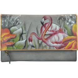 Women's Anuschka Hand Painted Three Fold Clutch Flamboyant Flamingos 24408766