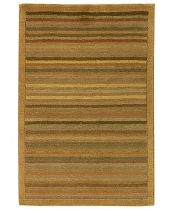 Hand-knotted Tibetan Stripes Wool Rug (3' x 5')