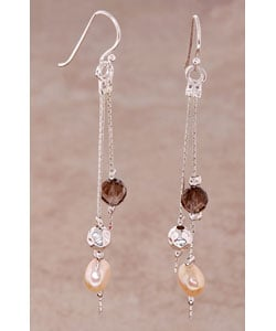 Sterling Silver Earring with Smoky Quartz and Pearl (Israel)
