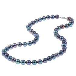 DaVonna 14k White Gold Black FW Pearl 18-inch Necklace (7.5-8 mm)