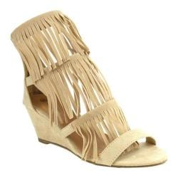Women's Beston Virginia-02 Fringe Wedge Sandal Nude Faux Suede 27122006