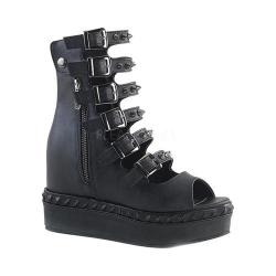 Women's Demonia Venom 110 Open-Toe Buckle Bootie Black Vegan Leather 27122163