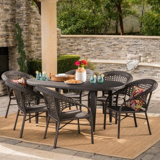 Aloha Outdoor 7-piece Oval Wicker Dining Set by Christopher Knight Home -  302654