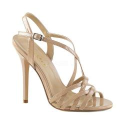 Women's Pleaser Amuse 13 Strappy Sandal Nude Patent 28123864