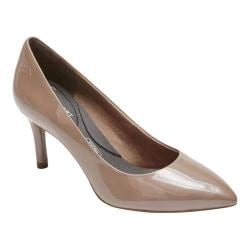 Women's Rockport Total Motion 75mm Pointed Toe Pump Taupe Grey Pearl Patent 28215090