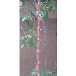 Lily Copper 8-foot Rain Chain