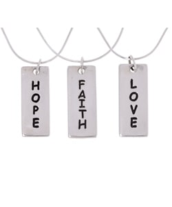 Journee Collection Sterling Silver Faith Love Hope Rectangle Pendant