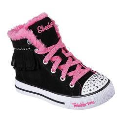 Girls' Skechers Twinkle Toes Shuffles Fringe Fabulous High Top Black/Hot Pink 29613613