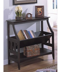 Antique Black Three-shelf Solid Wood Bookshelf