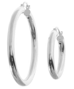 Sterling Essentials Sterling Silver Classic Hoop Earrings (Set of 2)