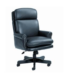 Boss Black Bonded Leather Plush Executive Chair