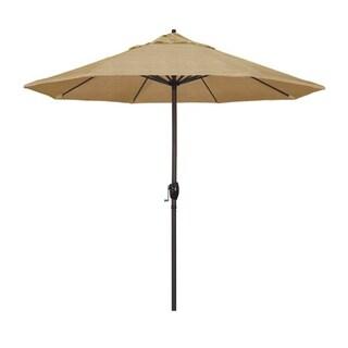 Magnolia Garden 9' Auto-Tilt Crank Lift Dark Bronze Umbrella with Olefin Fabric - Woven Sesame 36864836