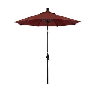 Magnolia Garden 7.5' Collar-Tilt Crank Lift Dark Bronze Umbrella with Olefin Fabric - Terrace Adobe 36864905