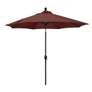 Magnolia Garden 9' Push Button-Tilt Crank Lift Dark Bronze Umbrella with Olefin Fabric - Terrace Adobe 36864930