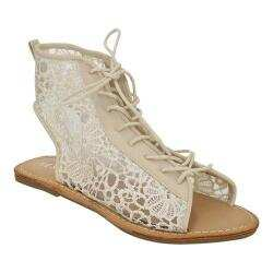 Women's Beston Holly-4 Lace Open Toe Bootie Nude Faux Leather/Lace 32330119