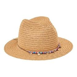 Women's San Diego Hat Company Fedora with Multi Color Trim and Gold Coin UBF1107 Natural 32416995