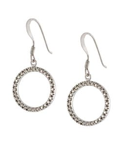 DB Designs Sterling Silver Diamond Accent Open Circle Earring