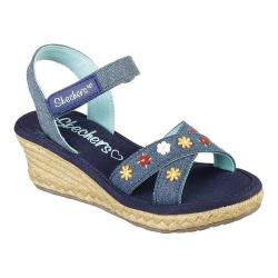 Girls' Skechers Tikis Wild Blooms Wedge Sandal Denim 33238871