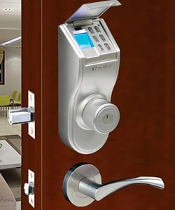 Fingerprint Silver Finished Right handled Deadbolt Lock